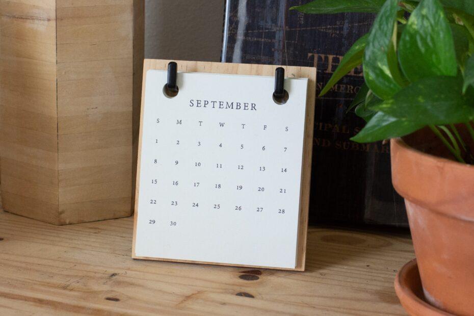 calendar open at September
