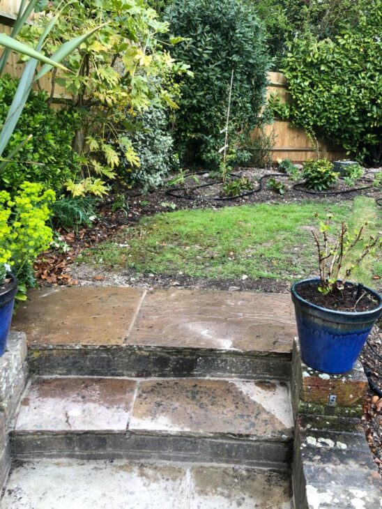 garden watering system in use
